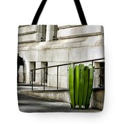 The Story Of Him Waiting And A Green Trashcan Tote Bag