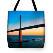 The Sunshine Under The Sunshine Skyway Bridge Tote Bag by Rene Triay Photography