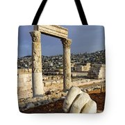 The Temple Of Hercules And Sculpture Of A Hand In The Citadel Amman Jordan Tote Bag