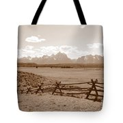 The Tetons In Sepia Tote Bag