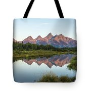 The Tetons Reflected On Schwabachers Landing - Grand Teton National Park Wyoming Tote Bag