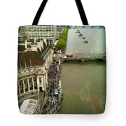 The Thames River And The Flag Of England Tote Bag