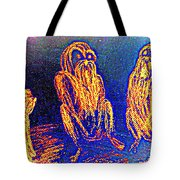 The Three Apes Are Discussing Important Matters  Tote Bag