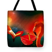 The Three Flamingos - Featured In 'feathers And Beaks' 'wildlife' And 'comfortable Art'  Groups Tote Bag