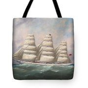 The Three-master Hahnemann In Full Sail Off A Headland Tote Bag