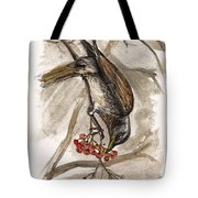 The Thrush Eating Cranberries Tote Bag