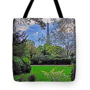 The Tower Over A Garden Tote Bag