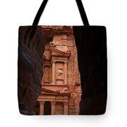 The Treasury Seen From The Siq Petra Jordan Tote Bag