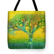 The Tree In Summer At Sunrise - Painterly - Abstract - Fractal Art Tote Bag