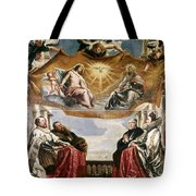 The Trinity Adored By The Duke Of Mantua And His Family Tote Bag