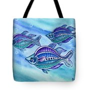The Turquoise Rainbow Fish Tote Bag