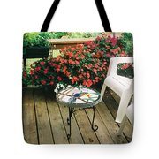 The Upper Deck With Stain Glass Table Tote Bag