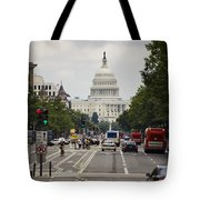 The Us Capitol Building From Pennsylvania Avenue Tote Bag