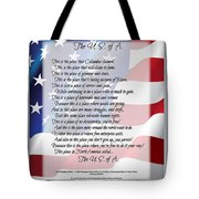 The U.s.a. Flag Poetry Art Poster Tote Bag