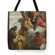 The Virgin And Child Appearing To A Group Of Saints Tote Bag