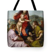 The Virgin And Child Between Saint Matthew And An Angel Tote Bag