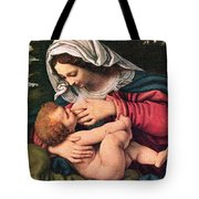The Virgin And The Green Cushion Tote Bag by Munir Alawi
