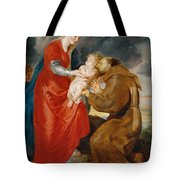 The Virgin Presents The Infant Jesus To Saint Francis Tote Bag