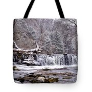 The Waterfall Near Valley Green In The Snow Tote Bag