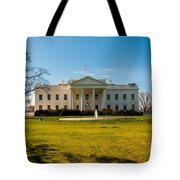 The White House In Washington Dc With Beautiful Blue Sky Tote Bag