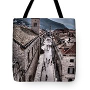 The White Tower In The Stradun From The Ramparts Tote Bag