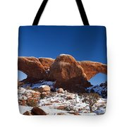 The Windows In Snow Arches National Park Utah Tote Bag