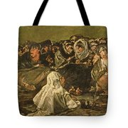 The Witches Sabbath Or The Great He-goat, One Of The Black Paintings, C.1821-23 Oil On Canvas Tote Bag
