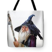 The Wizard And The Raven Tote Bag by J W Baker