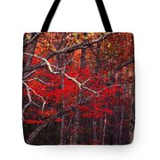 The Woods Aflame In Red Tote Bag