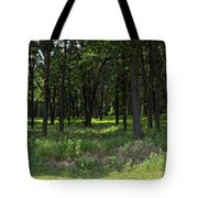 The Woods And The Road From The Series The Imprint Of Man In Nature Tote Bag