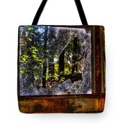 The Woods Through A School Bus Window Tote Bag