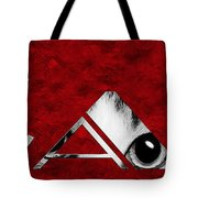 The Word Is Cat Bw On Red Tote Bag by Andee Design