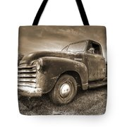 The Workhorse In Sepia - 1953 Chevy Truck Tote Bag