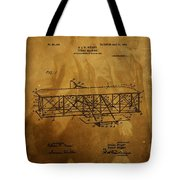The Wright Brothers Airplane Patent Tote Bag