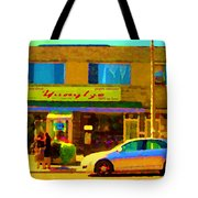 The Yangtze Chinese Food Restaurant On Van Horne Montreal Memories Cafe Street Scene Carole Spandau  Tote Bag