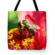 The Zinnia And The Bee Tote Bag
