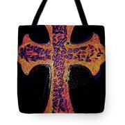 Thermal Cracked Glass Cross Light 2 Dark Tote Bag by Lisa Brandel