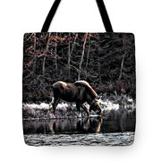 Thirsty Moose Impressionistic Digital Painting Tote Bag