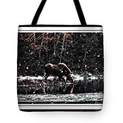 Thirsty Moose Impressionistic Painting With Borders Tote Bag