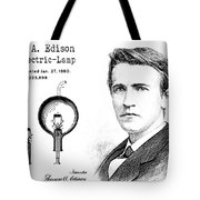 1880 Thomas Edison Electric Lamp Patent Art 2 Tote Bag