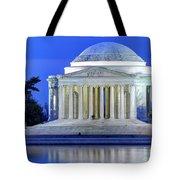 Thomas Jefferson Memorial At Night Reflected In Tidal Basin Tote Bag