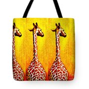 Three Amigos Giraffes Looking Back Tote Bag