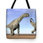 Three Argentinosaurus Dinosaurs Tote Bag by Elena Duvernay
