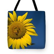 Three Bees And A Sunflower Tote Bag by Adam Romanowicz
