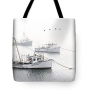Three Boats Moored In Soft Morning Fog  Tote Bag