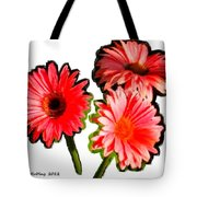 Three Bright Red Flowers Tote Bag