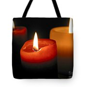 Three Burning Candles Tote Bag by Elena Elisseeva