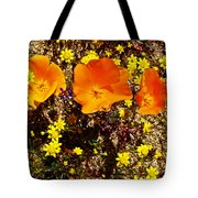 Three California Poppies Among Goldfields In Antelope Valley California Poppy Reserve Tote Bag