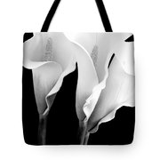Three Calla Lilies In Black And White Tote Bag