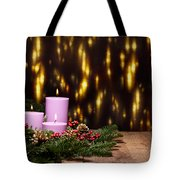 Three Candles In An Advent Flower Arrangement Tote Bag